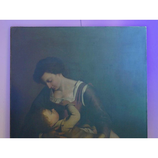 """""""Madonna & Child"""" 19th Century Copyist Oil Painting After Orazio Gentileschi For Sale - Image 4 of 13"""