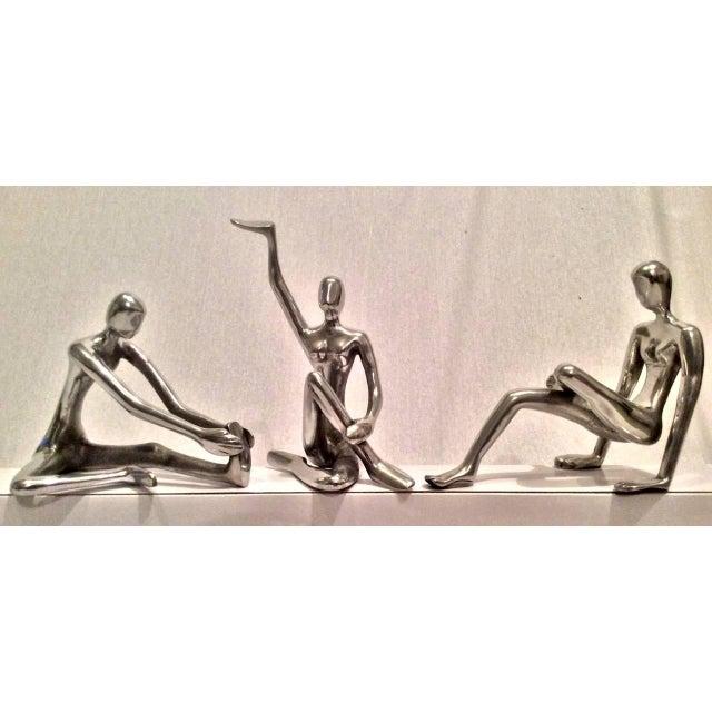 Modernist Polished Steel Sculptures - Set of 3 - Image 5 of 10