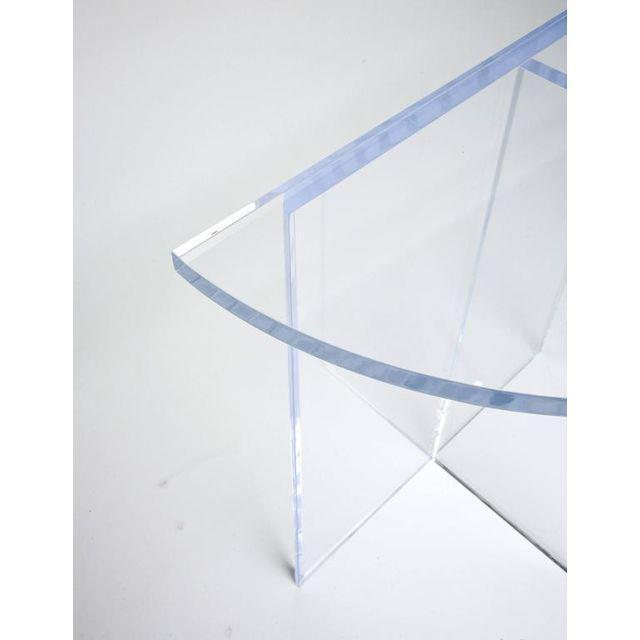 Alexander Millen Custom Designed Charles Hollis Jones Style Demilune Clear Lucite Console - Showroom Sample For Sale - Image 4 of 12