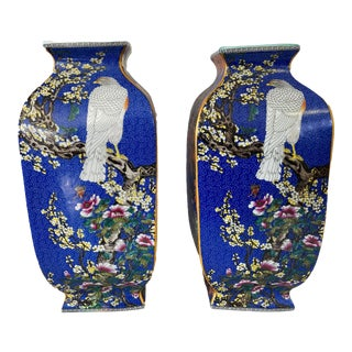 Chinoiserie Famille Rose Style Quadrilateral Shaped Porcelain Vase-Pair For Sale