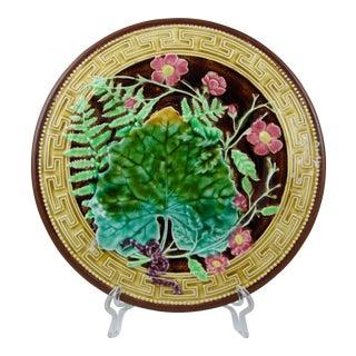 Choisy-Le-Roi Majolica Greek Key & Fern Plate For Sale