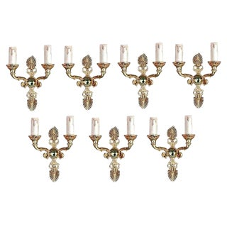 Antique French Empire Style Bronze Sconces - Set of 7 For Sale