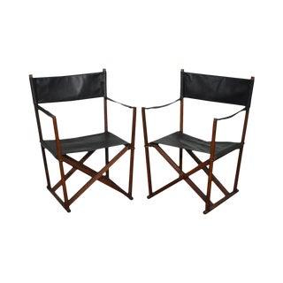 Professor Mogens Koch Interna Pair of Mid Century Modern Folding Black Leather Safari Chairs For Sale