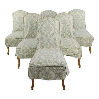 Robert Scott Louis XV Leather Upholstered Dining Chairs - Set of 6 For Sale