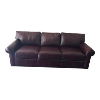 Ethan Allen Red Leather Couch For Sale