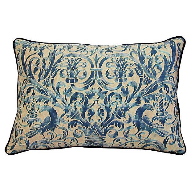 Custom Designer Italian Fortuny Uccelli Feather/Down Pillow (One Pillow) - Image 2 of 10