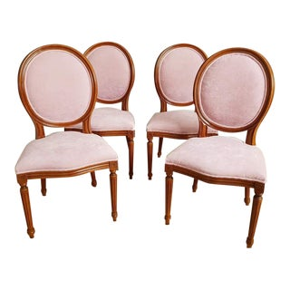 Set of 4 French Early 20th C. Louis XVI Style Reupholstered Pink Medallion Dining Chairs For Sale