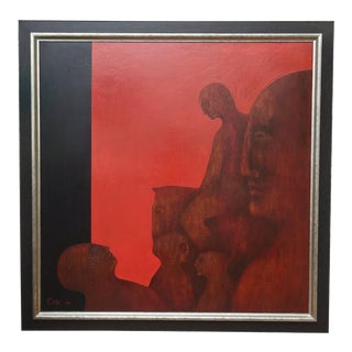 "1960s Vintage Natalie Cole ""Lady Godiva"" Signed Oil on Board Painting For Sale"
