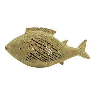 Vintage African Oxidized Bronze Mesh Design Fish Large For Sale