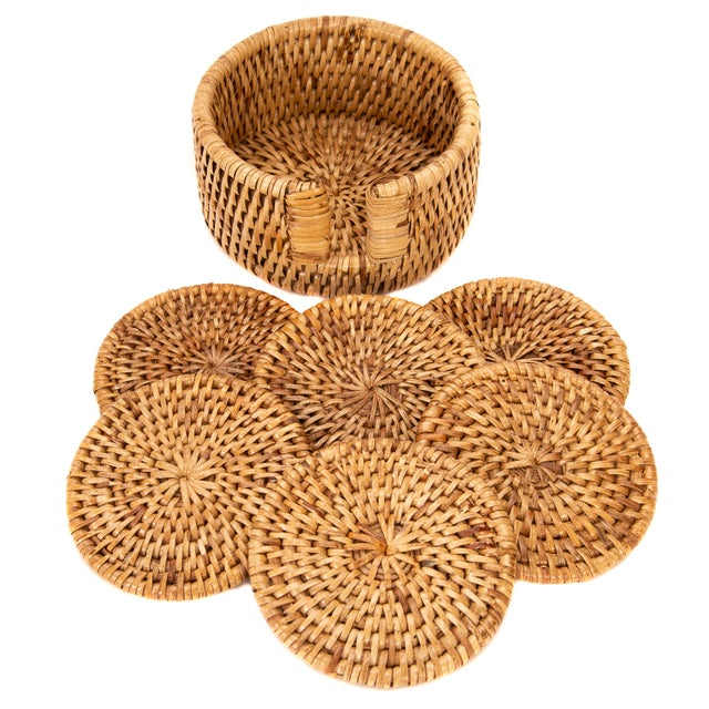 Boho Chic Artifacts Rattan 6-Piece Round Coaster Set With Box For Sale - Image 3 of 5