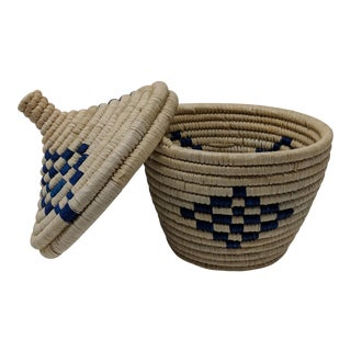Blue & White Woven African Basket With Lid