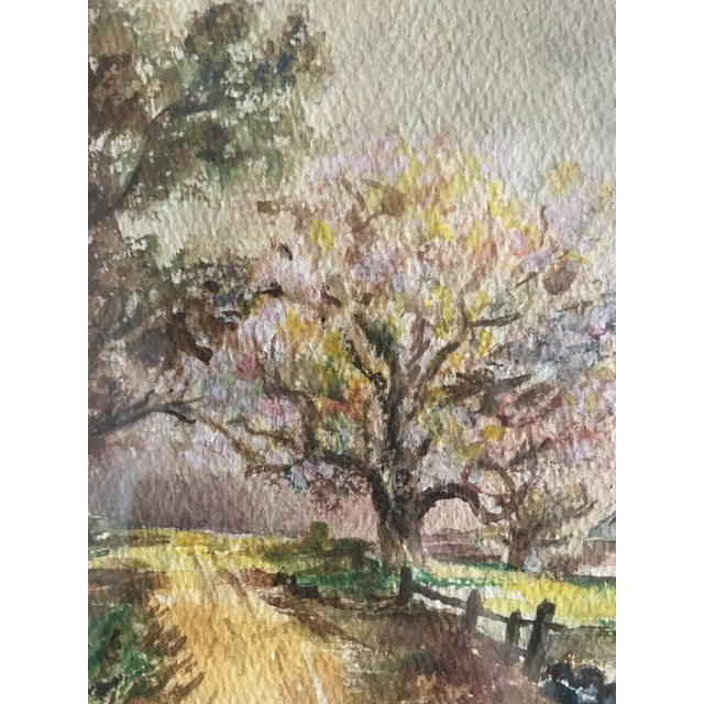 Mid 20th Century Vintage Mid-Century Rural House and Trees Original Watercolor Painting For Sale - Image 5 of 7