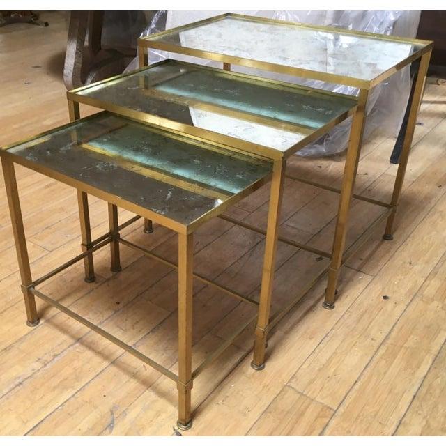 Metal Marc Du Plantier Refined Gold Bronze 3 Nesting Tables For Sale - Image 7 of 8