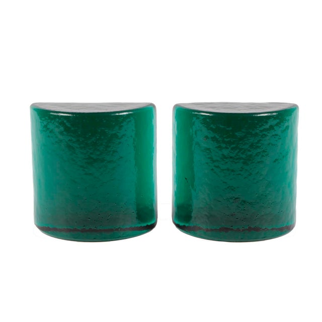 Deep emerald green solid glass half-moon shaped bookend pair.