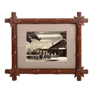 Mid-Century Dude Ranch Photograph in 19th Century Tramp Art Frame For Sale