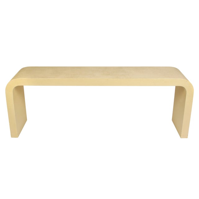"""Modern Modern Karl Springer Style Linen Wrap Console """"Waterfall"""" For Sale - Image 3 of 5"""