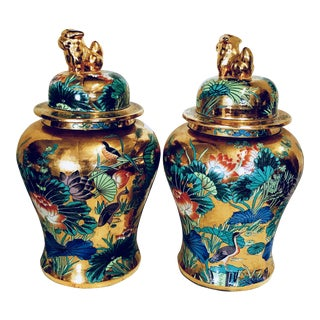Chinese Gilt Porcelain Baluster Ginger Jars - A Pair
