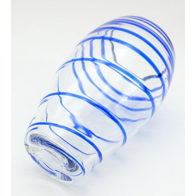 Late 20th Century V. Nason & C. Italian Murano Glass Vase With Blue Spiral Stripe For Sale - Image 5 of 7