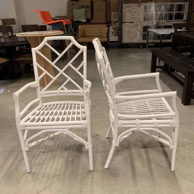 New New Pacific Direct Kara Rattan White Arm Chairs For Sale - Image 10 of 12