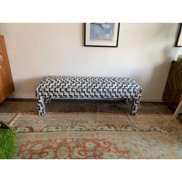 1970s Vintage Parsons Style Upholstered Bench For Sale In Los Angeles - Image 6 of 6