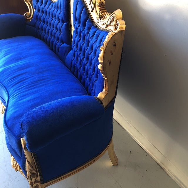 Blue Rococo Gilded Blue Tufted Sofa For Sale - Image 8 of 8