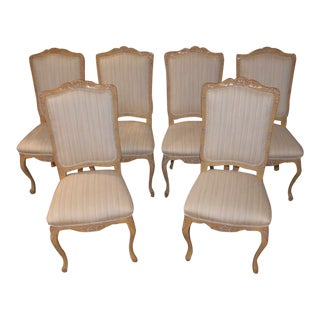 Vintage Carved Country French Style Dining Chairs - Set of 6