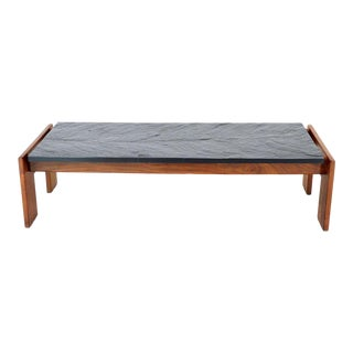Crafts Associates Adrian Pearsall Walnut Frame Slate Top Coffee Table For Sale