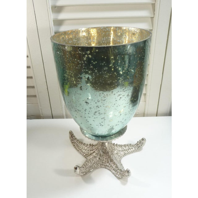 Aqua Mercury Glass Vase On Silver Starfish Base Chairish