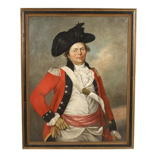 Antique Painting of a Red Coat Military Officer For Sale
