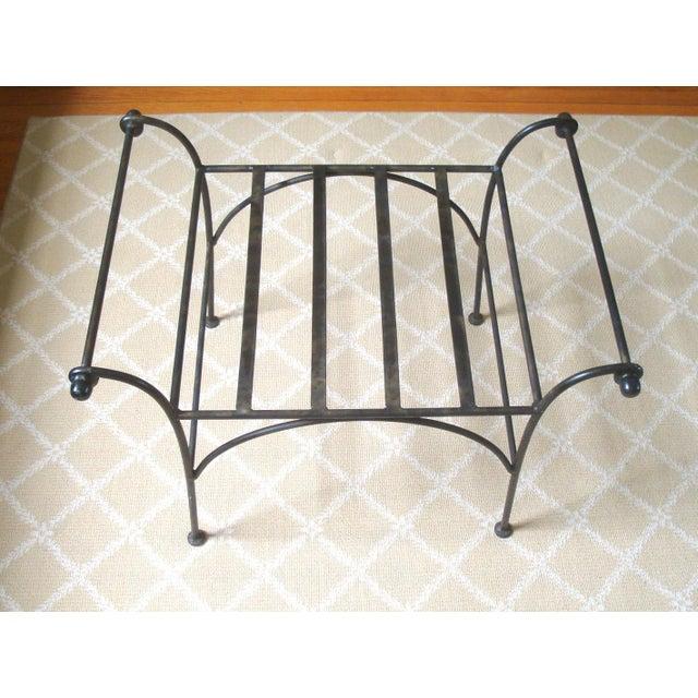 Art Deco Iron Regency Cerule Metal Bench For Sale - Image 3 of 5