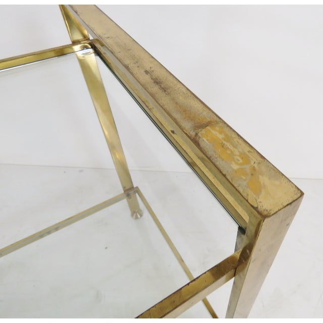 Mid-Century Modern Brass & Glass Side Table - Image 3 of 3