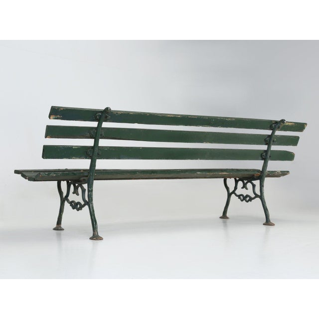 Antique French Cast Iron & Wood Garden Bench For Sale - Image 4 of 13