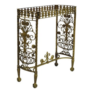 Antique French Art Nouveau Victorian Bronze Brass Side Table / Console Base For Sale