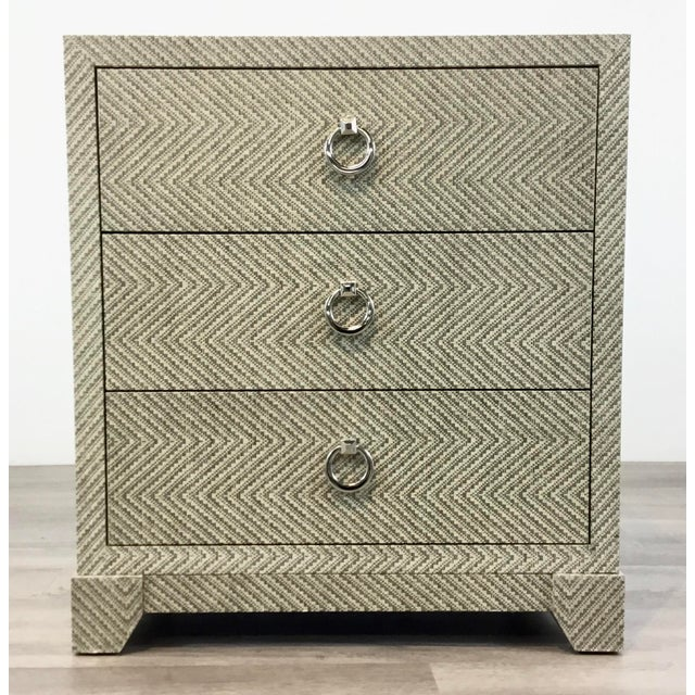 Original Retail $1710, stylish Bungalow 5 Modern Tweed Brittany Chest of Drawers, three drawers, wood body wrapped in gray...