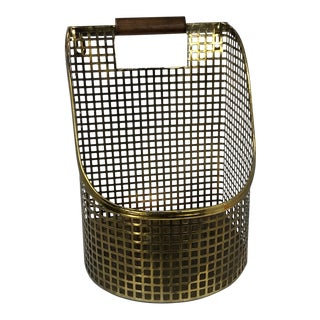 Late 20th Century Brass & Wood Organizer Hanging Utility Basket Storage For Sale