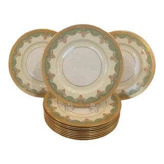 Antique Lenox Raised Gilt Service Dinner Plates- Set of 12 For Sale