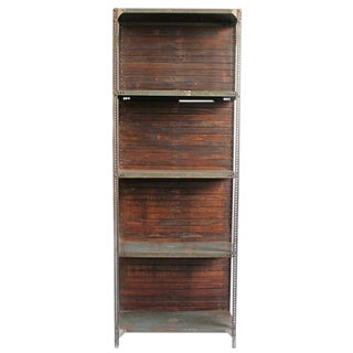 Industrial Wood & Iron Shelf For Sale