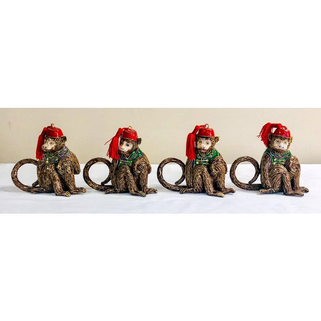 1980s Cloisonne Monkey Napkin Rings-Set of 4 For Sale - Image 5 of 5