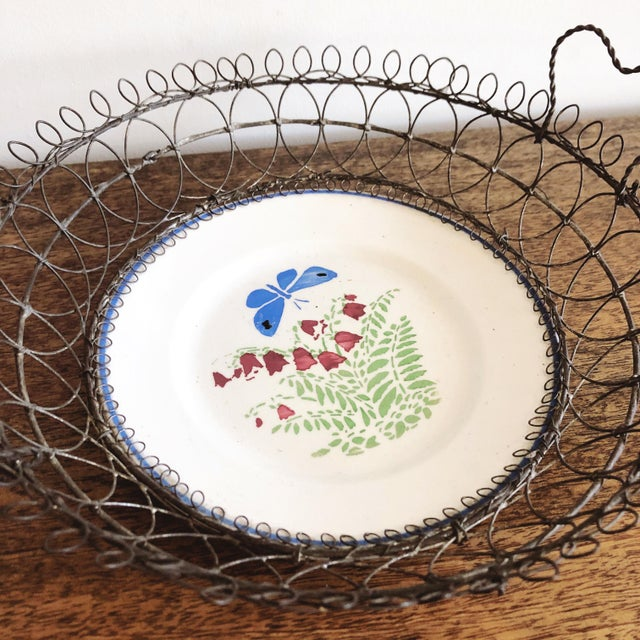 Antique Majolica Plate in Wire Bowl For Sale - Image 4 of 8