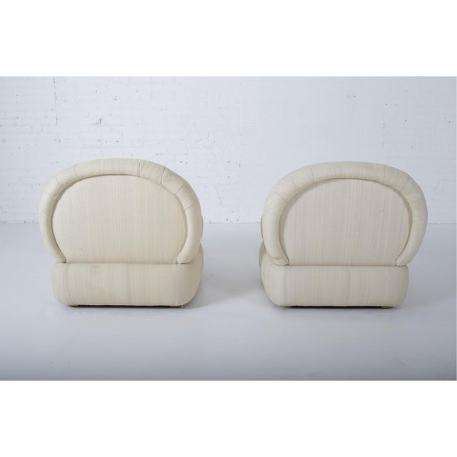 Silk 1970s Stacked Pouf Slipper Chairs - a Pair For Sale - Image 7 of 9