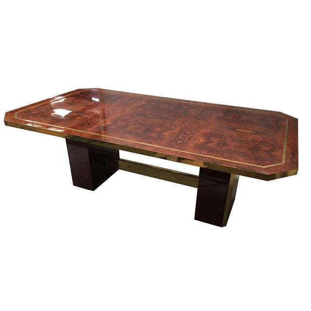 1980s Cedar Burl and Brass Dining Table by Jean Claude Mahey For Sale - Image 5 of 7