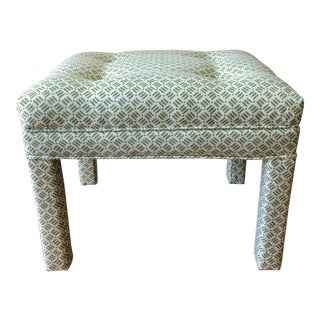 Vintage Parsons Stool in Grey Watkins Fabric For Sale