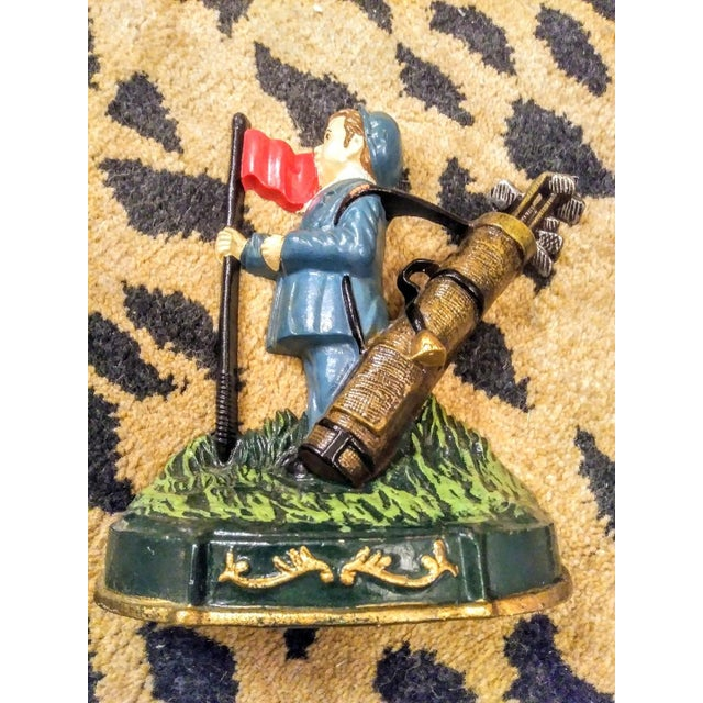 Traditional Vintage Cast Iron Golf Caddy Boy Door Stop For Sale - Image 3 of 4