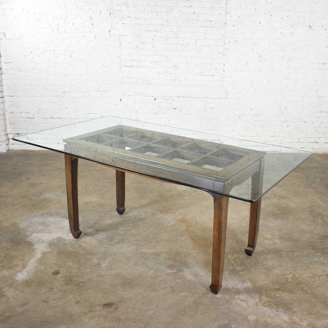 Vintage Chinoiserie Chow Leg Glass Top Dining Table Walnut Color Finish For Sale - Image 11 of 13