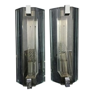1960s Veca Space Age Heavy Glass Wall Sconces, Italy - a Pair For Sale