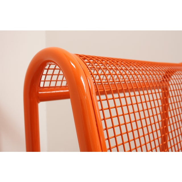 Pierre Paulin 80s Ergonomic Steel Bench - Postmodern Patio Chair For Sale - Image 4 of 7