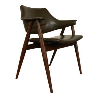 1970s Thonet Vinyl and Walnut Arm Chair For Sale