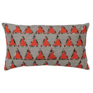 Contemporary Pyramid Appliqué Vermilion Pillow For Sale
