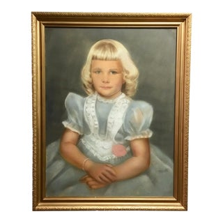 1950s Vintage Portrait of Little Girl Pastel Drawing For Sale