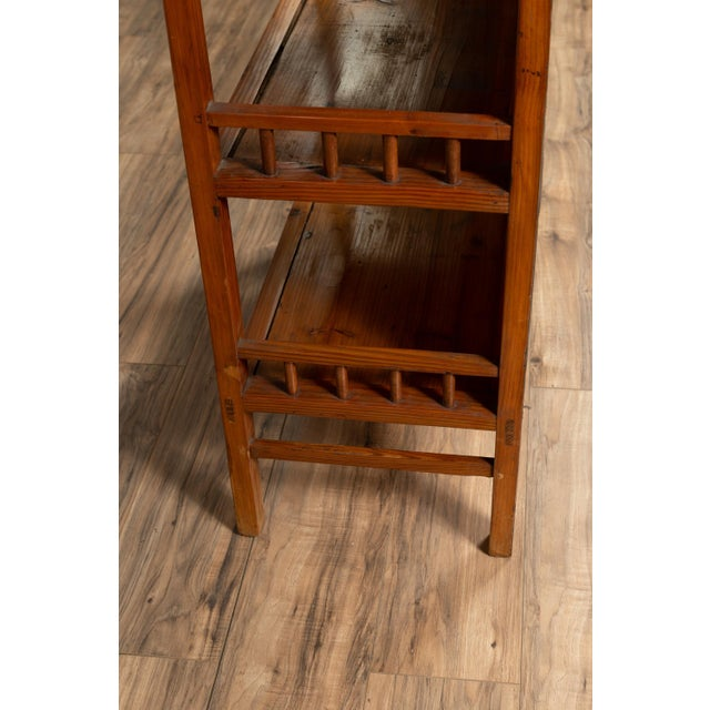 Mid 20th Century Vintage Chinese Two-Part Elmwood Bookcase With Pillar-Shaped Strut Motifs For Sale - Image 5 of 13